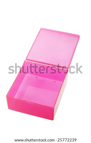 Open red plastic box on white background