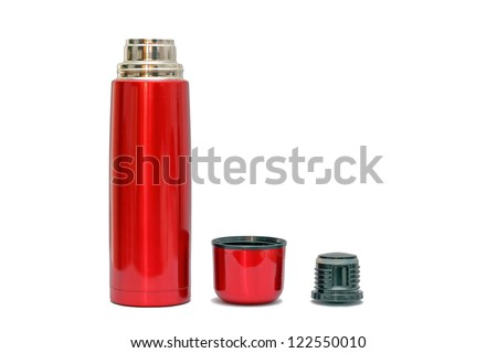 open red thermo bottle with shadows over white background - stock photo