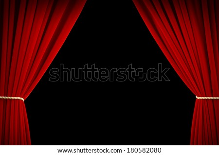 Open Red Velvet Movie Curtains with Black Screen. - stock photo
