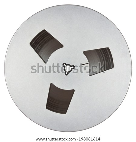 Open reel of quarter inch audio tape on spool isolated on white with clipping path