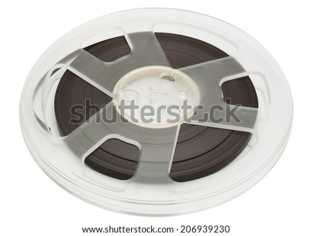 Open reel of quarter inch audio tape on spool isolated on white with clipping path - stock photo