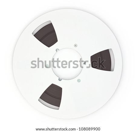 Open Reel Tape Quarter Inch Tape on white background - stock photo