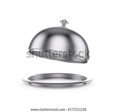 Open Restaurant cloche , isolated on white , 3d render - stock photo