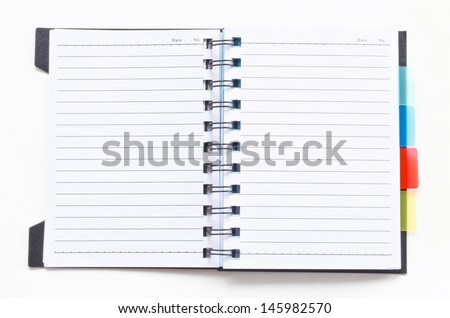 Open ring binder notebook on white background