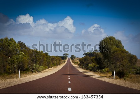 Open road in Australia stretching into distance. - stock photo