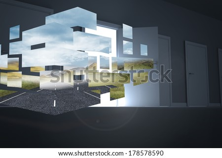 Open road on abstract screen against door opening revealing light - stock photo