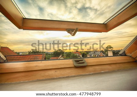 Open roof window, skylight with beautiful view