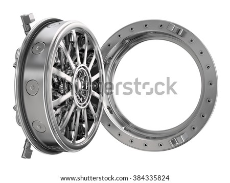 Open round door of bank isolated on a white - stock photo