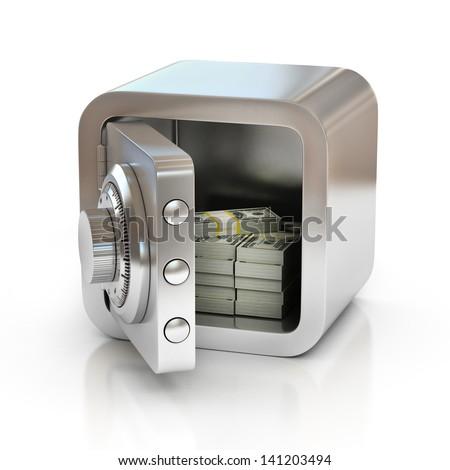 open safe full of money - stock photo
