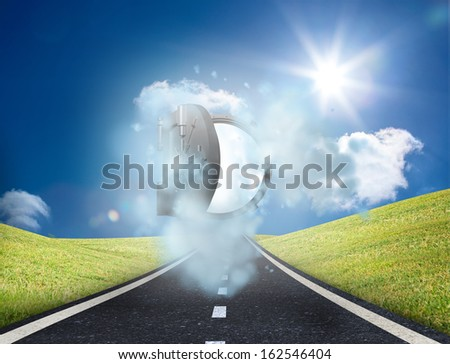 Open safe over sunny landscape - stock photo