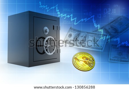 Open safe with dollars abstract background