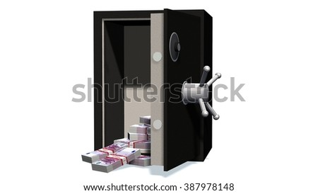 Open safe with 500 Euro bills isolated on white background  - stock photo