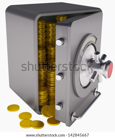open safe with gold coins