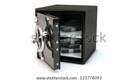 Open safe with money on white background