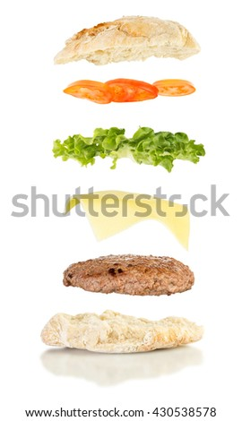 open sandwich, floating sandwich, burger sandwich with hamburger, cheese, lettuce and tomato