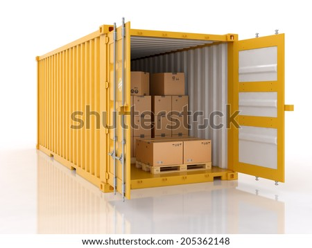 open shipping container with cardboard boxes and palletes