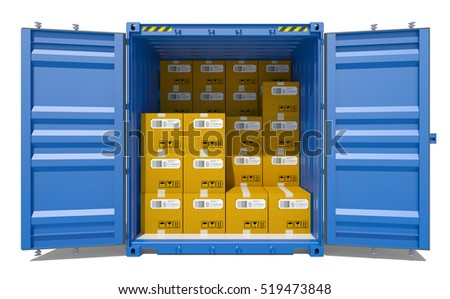 Open shipping container with cardboard boxes. 3D rendering. White background