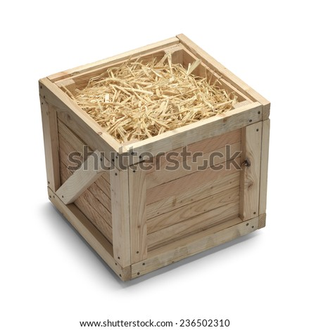 Open Shipping Crate with Straw Isolated on White Background. - stock photo