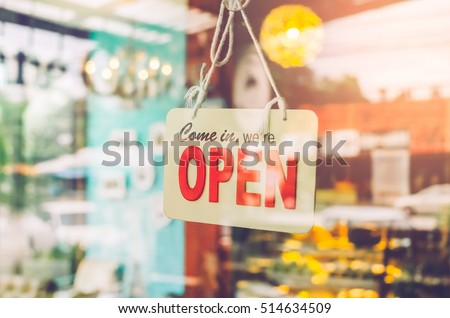 Open Sign Broad Through Glass Door Stock Photo Safe To Use
