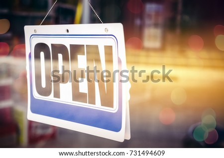 Open Sign Broad Through Glass Door Stock Photo Royalty Free