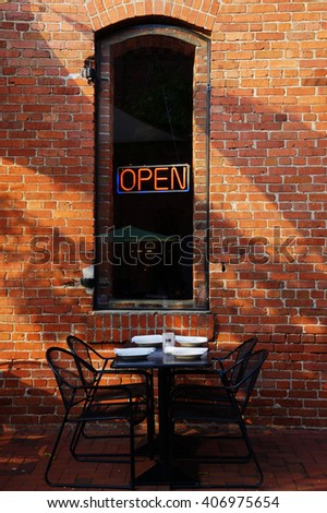 Open Sign dining Outdoors - stock photo