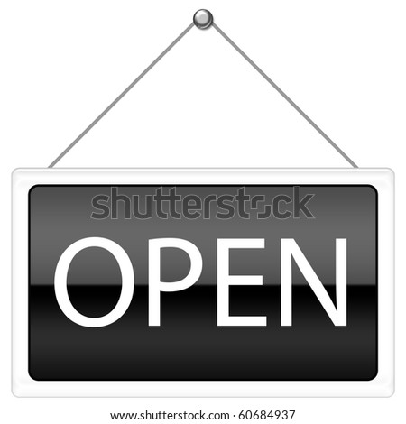 Open Sign in black color - stock photo