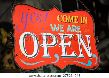 Open sign in shop - stock photo