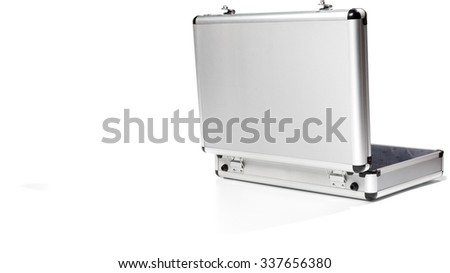 Open Silver Briefcase - Isolated