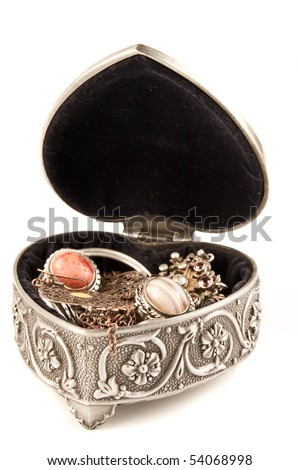 Open silver jewelry box - stock photo