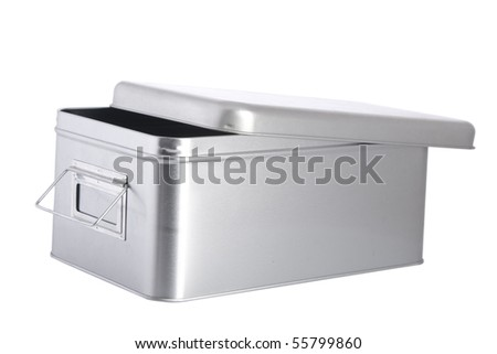 open silver steel box on white background