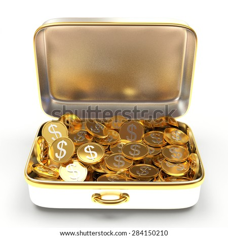 Open silver suitcase full of golden coins isolated on white background