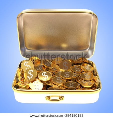 Open silver suitcase full of golden coins on blue background
