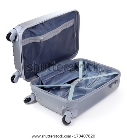 Open silver suitcase isolated on white - stock photo