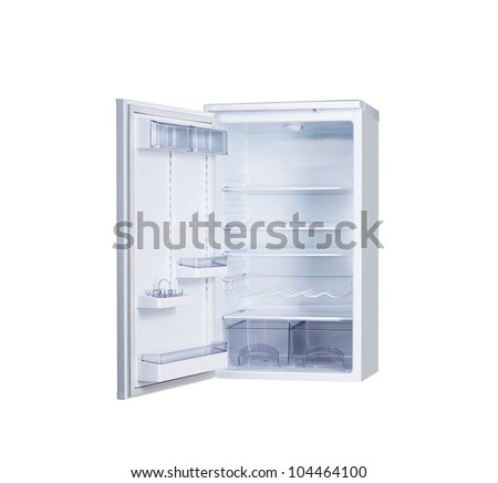 open single door fridge isolated on white - stock photo