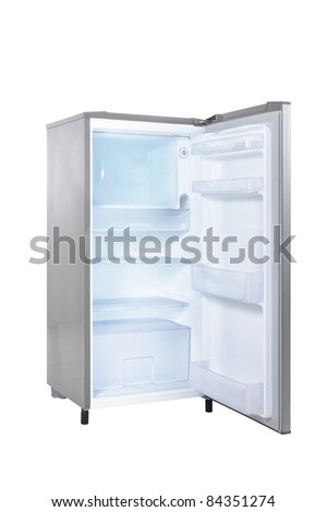 open single door fridge isolated on white background - stock photo