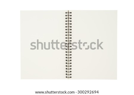 Open sketch book isolated on white background and clipping path - stock photo