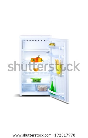 open small refrigerator with food, fruits, isolated on white background - stock photo