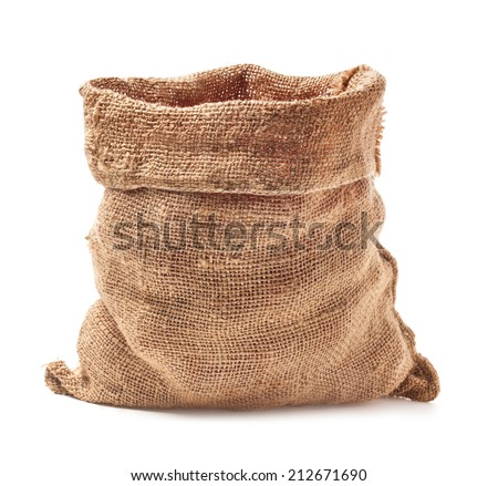 Open small sack isolated on white background - stock photo