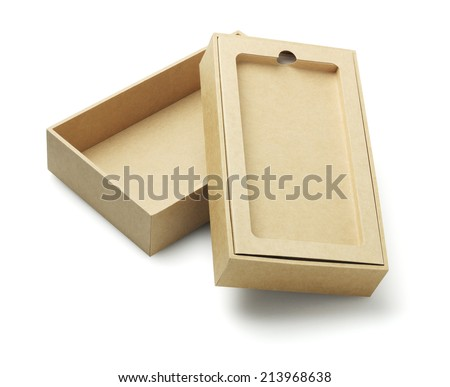 Open Smartphone Cardboard Packaging Box On White Background
