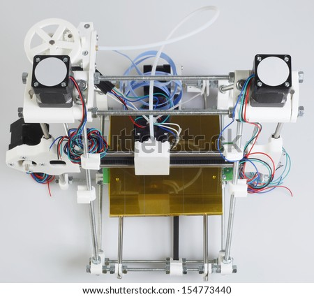Open Source 3D Printer Top View - stock photo
