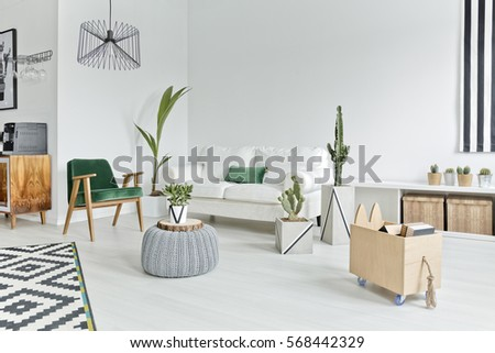 Open space flat interior with stylish furniture. Open Space Flat Interior Stylish Furniture Stock Photo 568442329