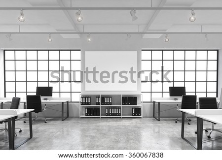 Open space office, big windows, tables with computers, office chairs, shelves with folders, lamps on the ceiling, big white board between windows. Front view. Concept of work