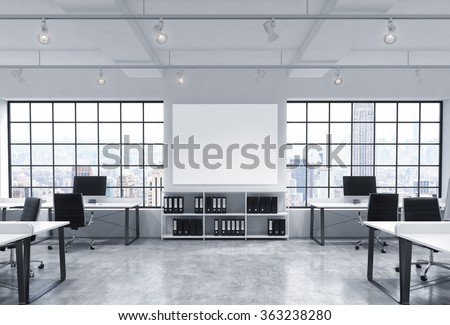 Open space office, big windows with New York view, tables with computers, office chairs, shelves with folders, lamps on the ceiling, big white board between windows. Front view. Concept of work - stock photo