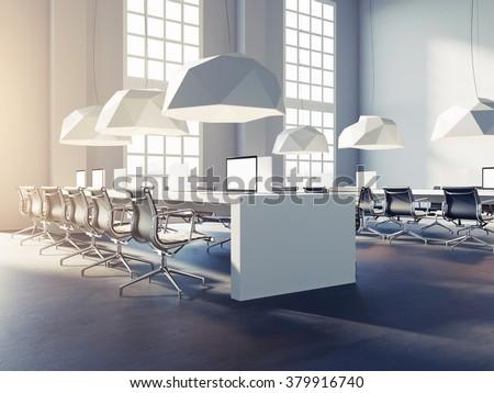 Open space office in loft style. 3d render - stock photo