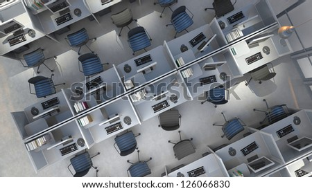 open space office top view - stock photo
