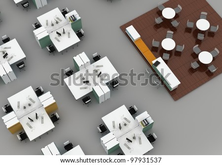 open space office with systems office desks and lounge area. Isolated on gray background