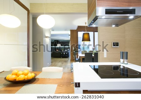 Open space with kitchen in modern apartment - stock photo