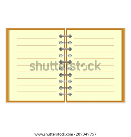 Open spiral lined notebook with orange cover isolated on white background