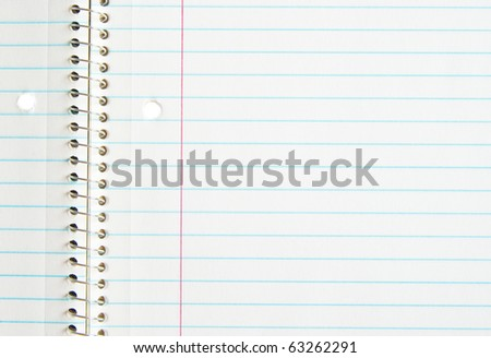 open spiral note book with lines - stock photo