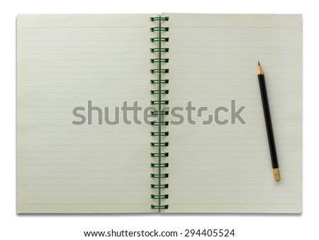 open spiral notebook and pencil isolated on white - stock photo